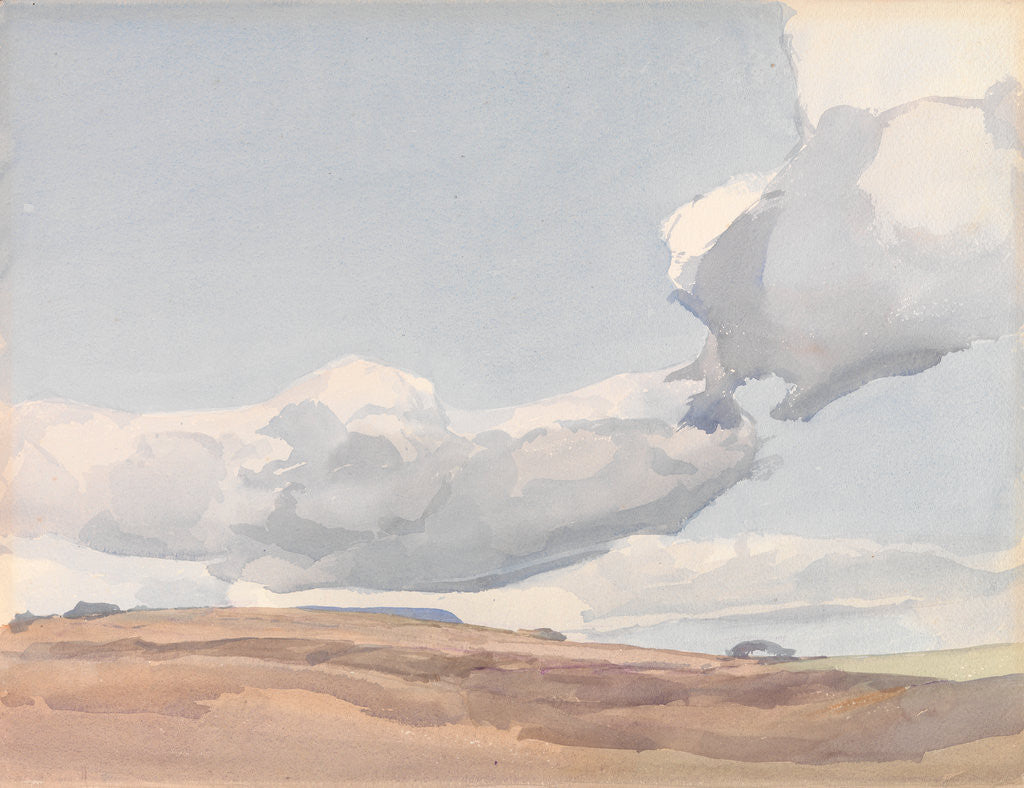 Detail of White clouds in a pale blue sky by Archibald Knox