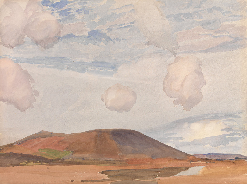 Detail of Slieu Whallian and Peel Hill by Archibald Knox