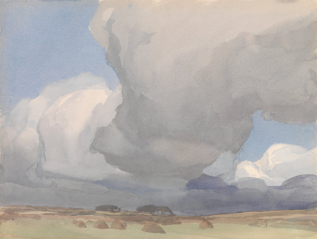 Detail of Large clouds over a harvested field by Archibald Knox