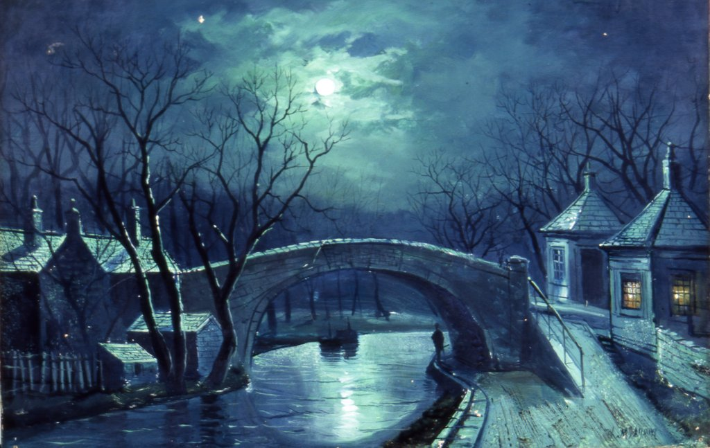 Detail of Redcote Bridge, Armley, by moonlight by W. Meegan