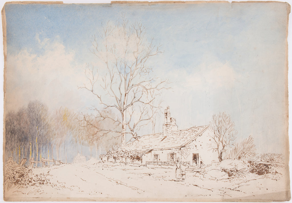 Detail of Unfinished sketch of cottage by John Miller Nicholson