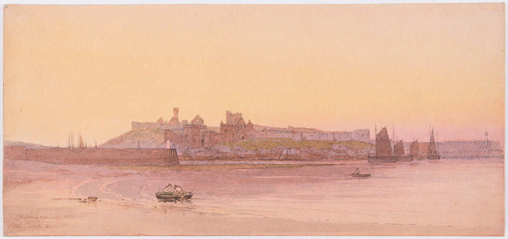 Detail of Peel Castle and beach at Sunset by John Miller Nicholson