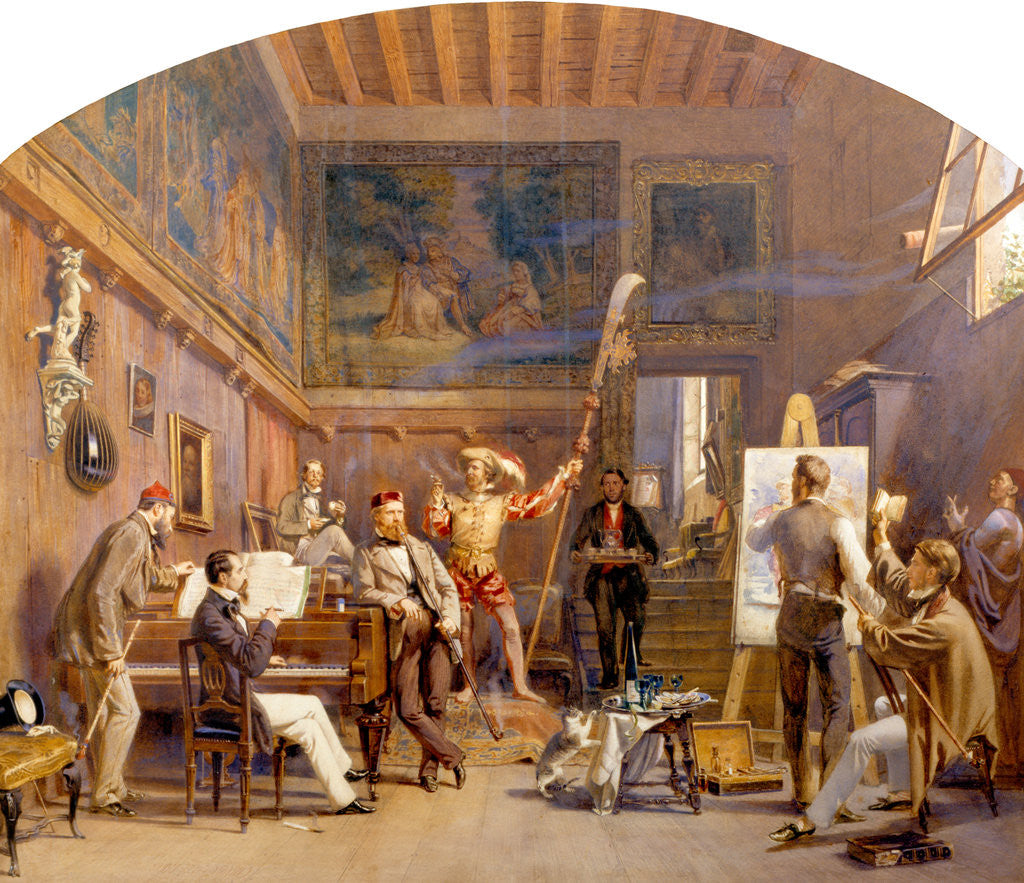 Detail of An Artist at Work in his Studio with Model and Other Figures by Carl Werner