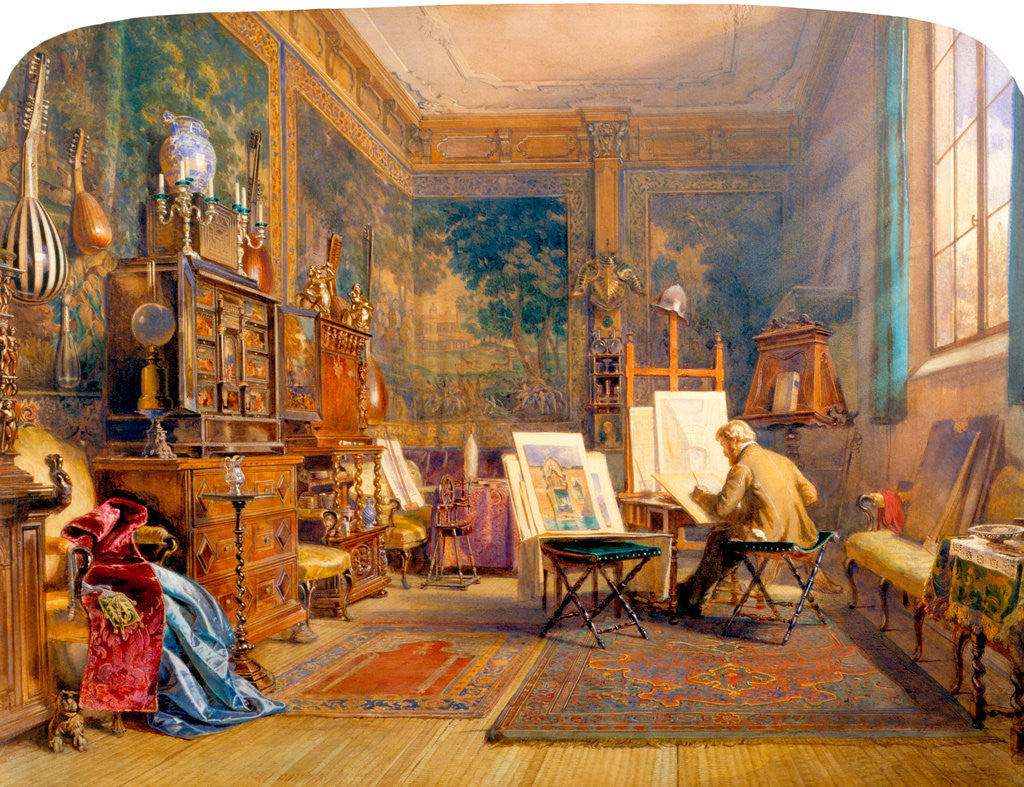 Detail of An Artist at Work in his Studio by Carl Werner