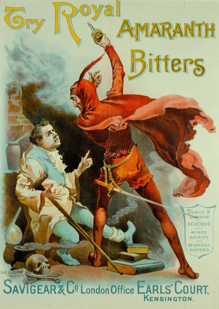Detail of Advertisement for 'Royal Amaranth Bitters' featuring Henry Irving as Mephistopheles from 'Faust', circa 1886 by Anonymous