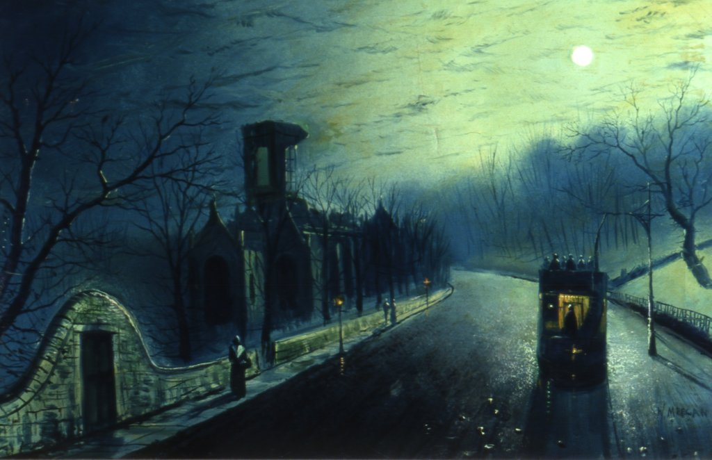 Detail of Kirkstall Abbey, by moon light (with tram) by W. Meegan