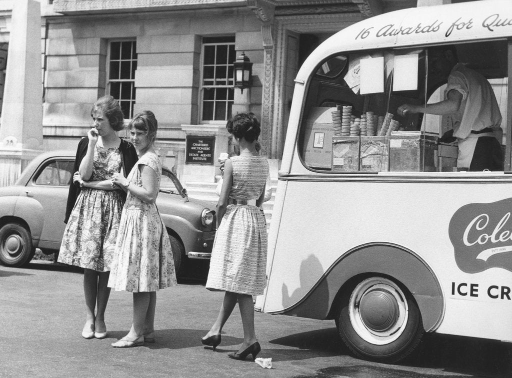 Detail of Young women by an ice cream van, c1960 by Tony Boxall