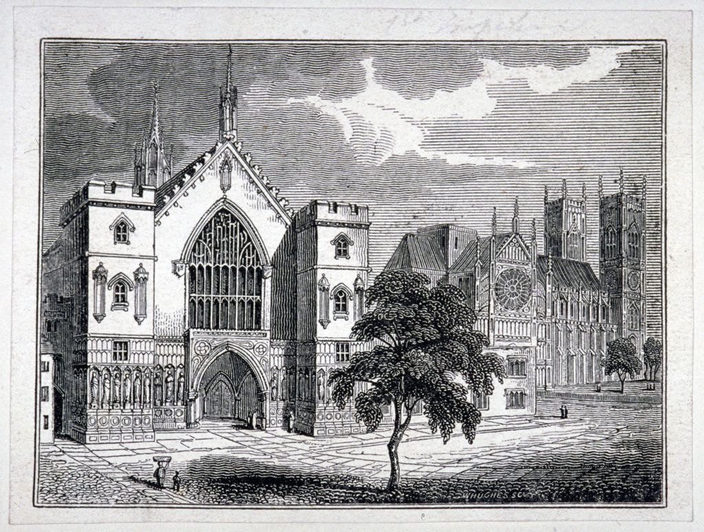 Detail of Westminster Hall from New Palace Yard with a view of Westminster Abbey, London by