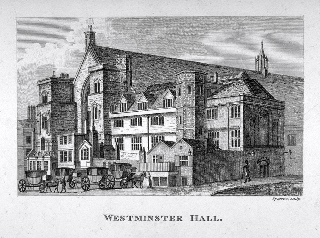 Detail of View of Westminster Hall from New Palace Yard, London by