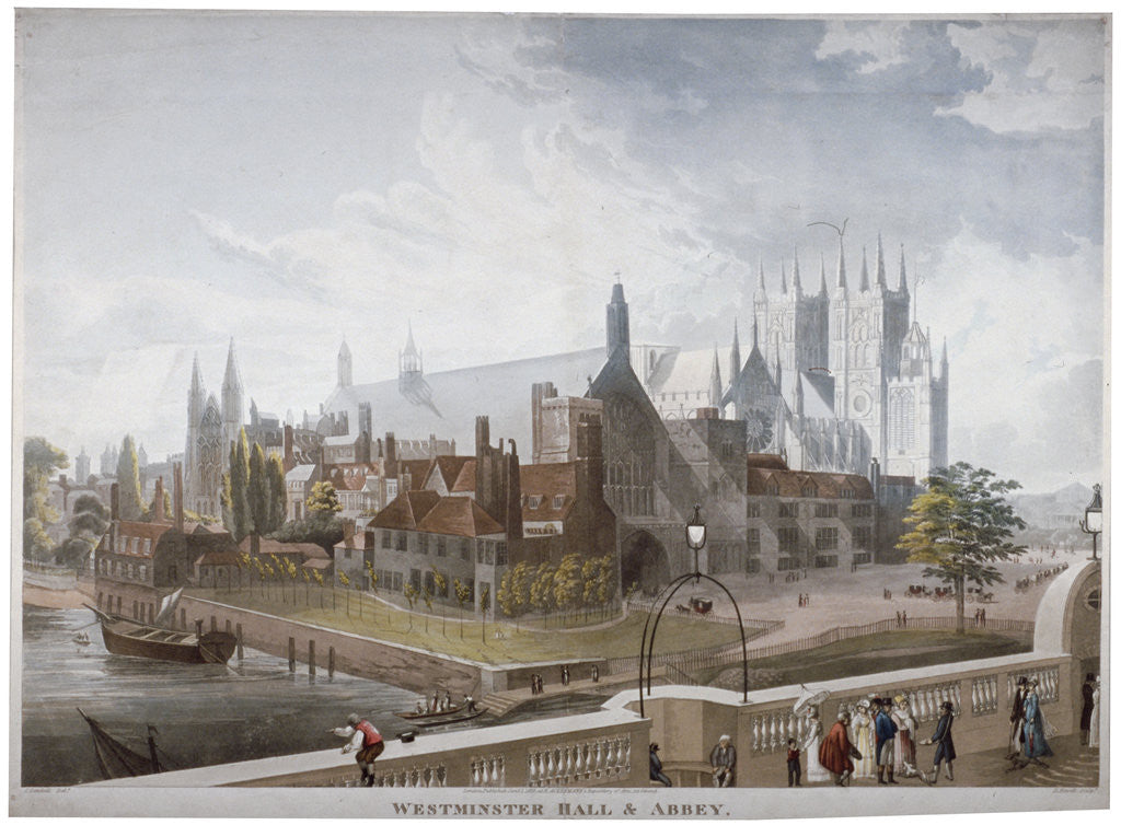 Detail of View of Westminster Hall and Abbey, from Westminster Bridge, London by Daniel Havell