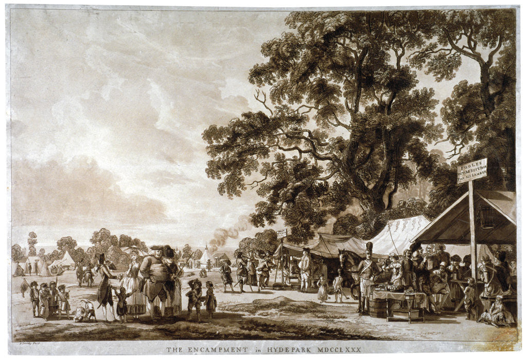 Detail of Army camp in Hyde Park, London by Paul Sandby