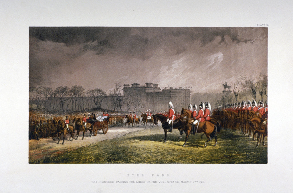 Detail of Hyde Park during a military review by Princess Alexandra, London by Day & Son