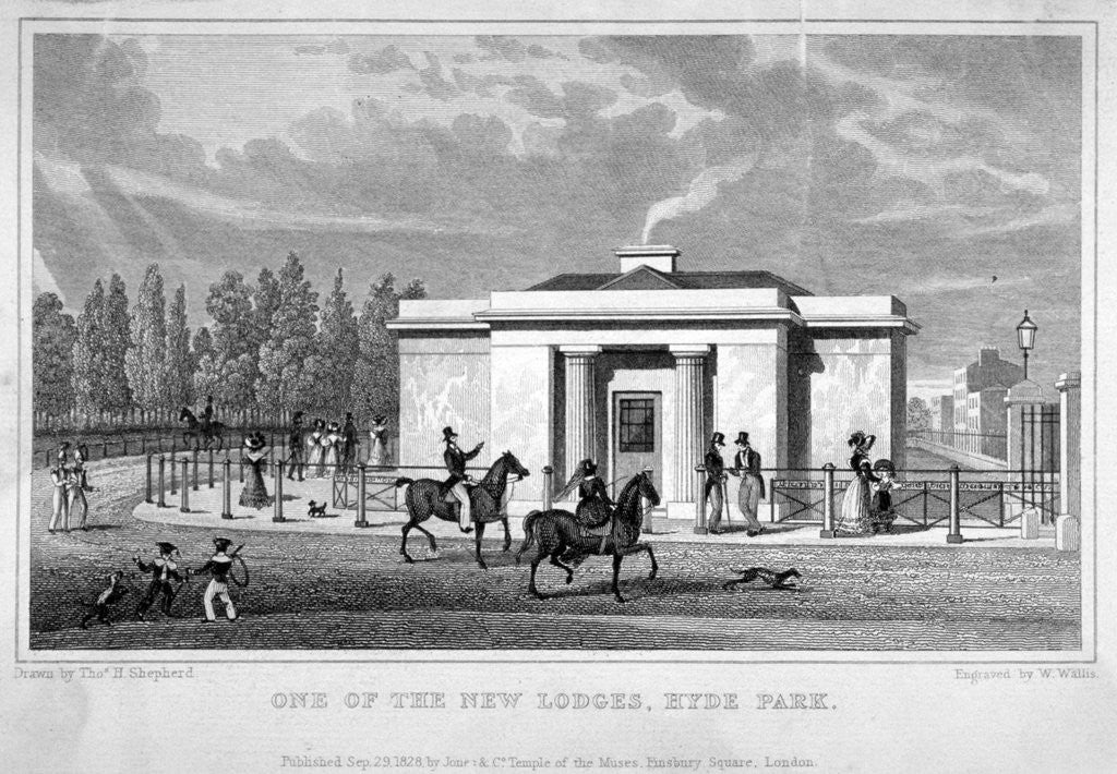 View of a lodge in Hyde Park, London by W Wallis