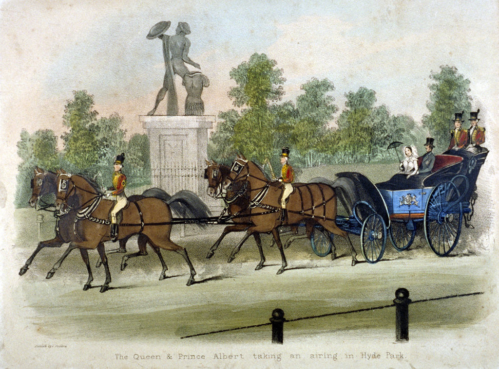 Detail of Queen Victoria and Prince Albert taking air in Hyde Park, London by Anonymous