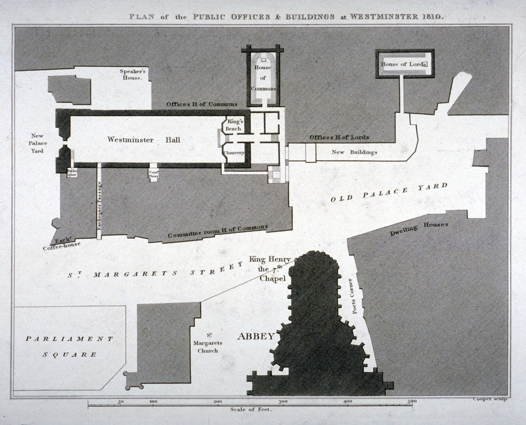 Detail of Plan of the public offices and buildings at Westminster, London by Anonymous