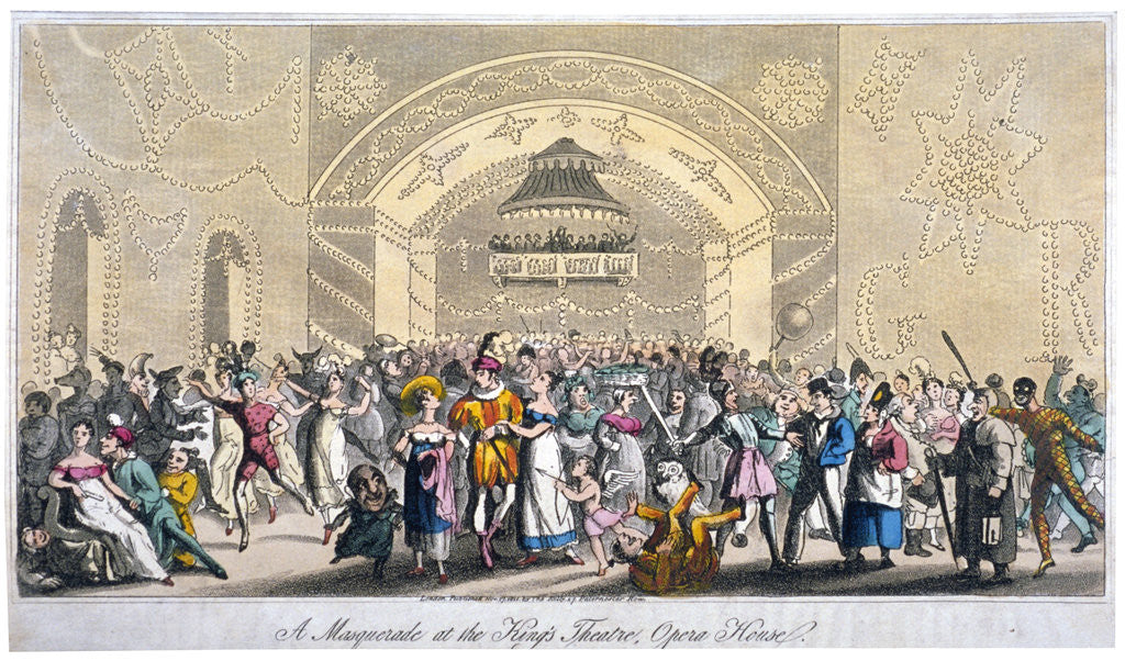 Detail of Interior view of a masquerade at the King's Theatre, Haymarket, London by Anonymous