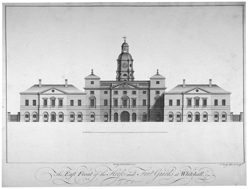 Detail of Elevation of the east front of Horse Guards, Westminster, London by John Vardy