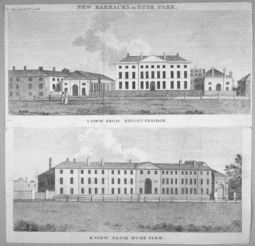 Detail of Two views of the new barracks in Hyde Park, London by Anonymous