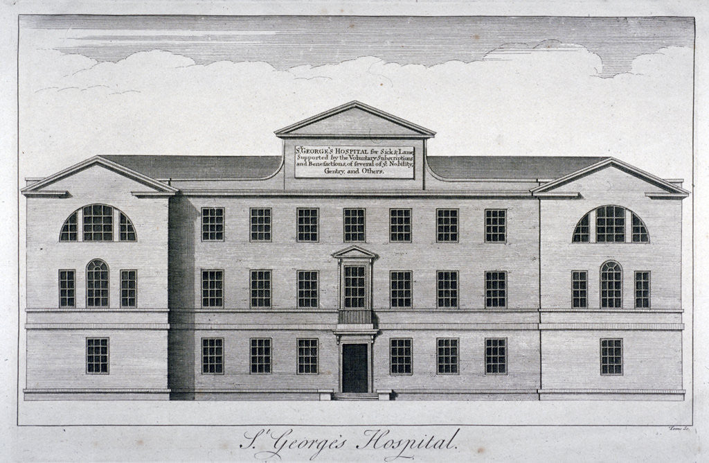 Detail of Front elevation of St George's Hospital, Hyde Park Corner, Westminster, London, c1740 by