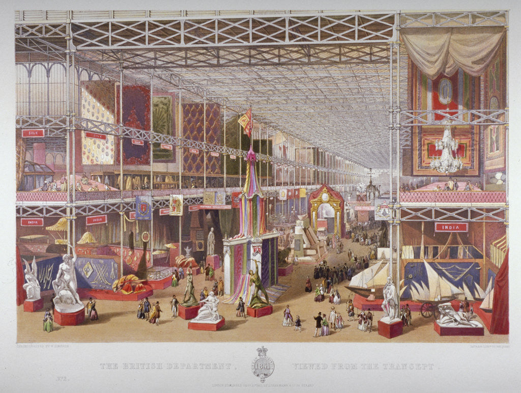 Detail of The Great Exhibition, Hyde Park, Westminster, London by William Simpson