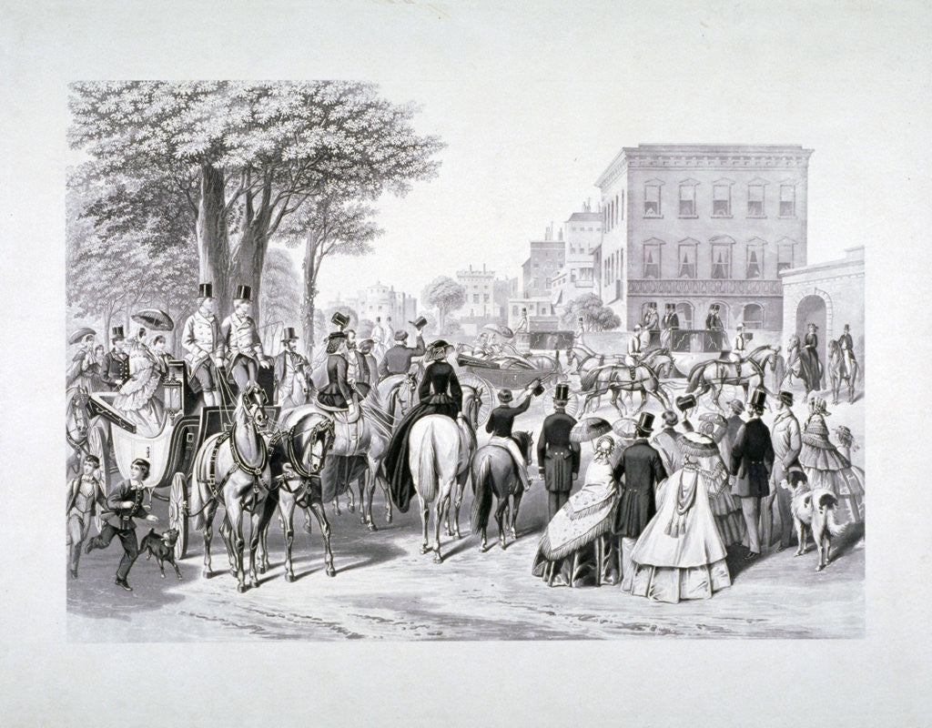 Queen Victoria riding in a carriage in Hyde Park, Westminster, London by Anonymous