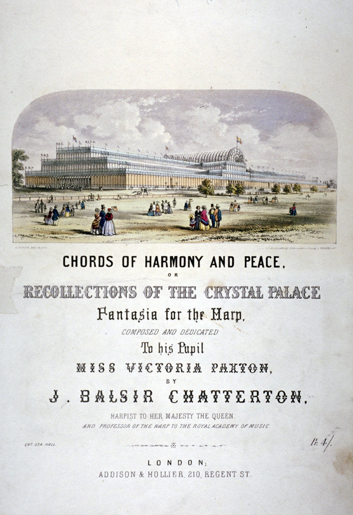 Detail of Cover of 'Chords of harmony and peace' composed by JB Chatterton by Augustus Butler