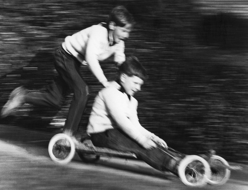 Detail of Boys playing with a home-made go-kart, Horley, Surrey, 1965 by Tony Boxall