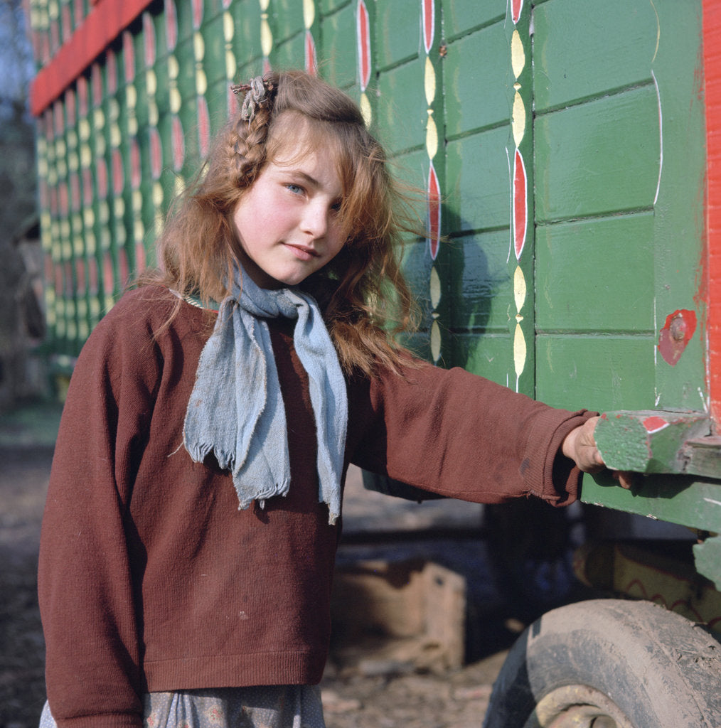 Detail of Gipsy girl, member of the Vincent family, Charlwood, Newdigate area, Surrey, 1964 by Tony Boxall