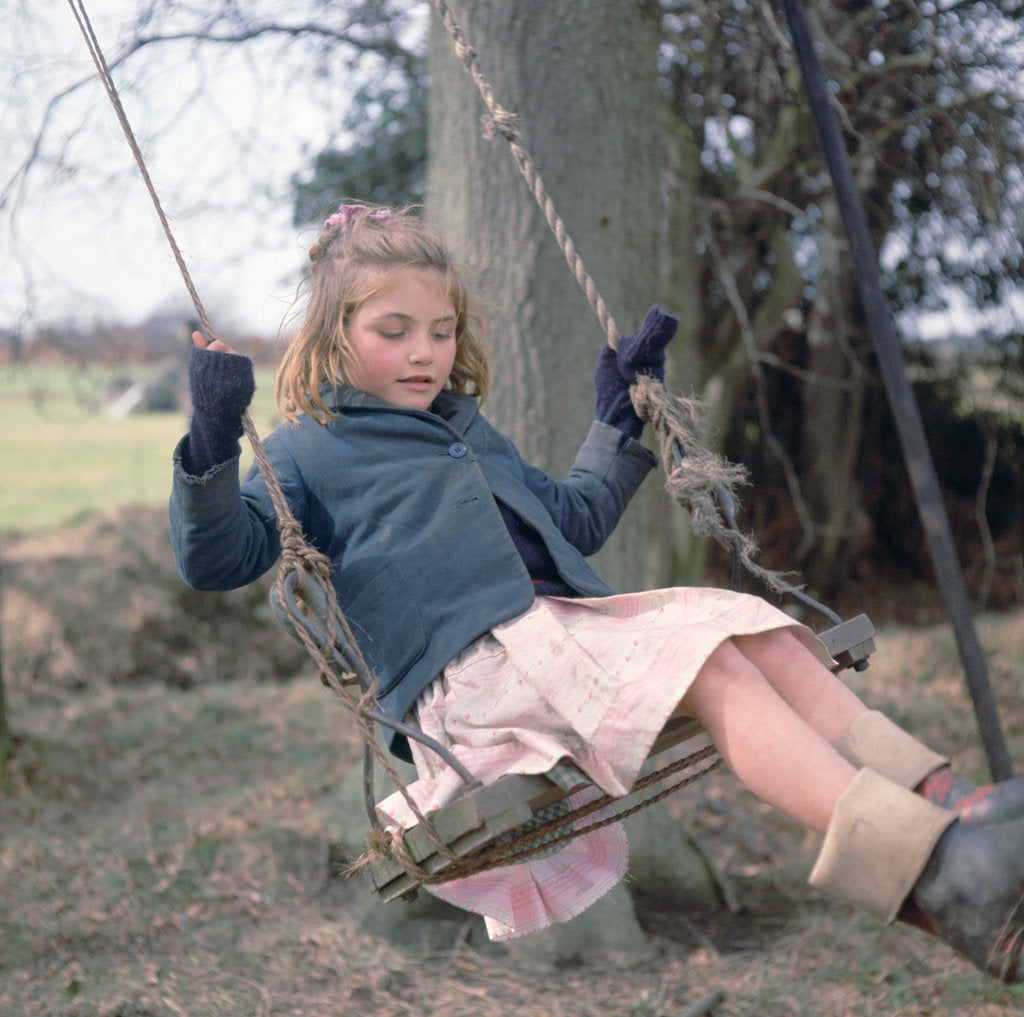 Detail of Young gipsy girl on a swing, Charlwood, Newdigate area, Surrey, 1964 by Tony Boxall
