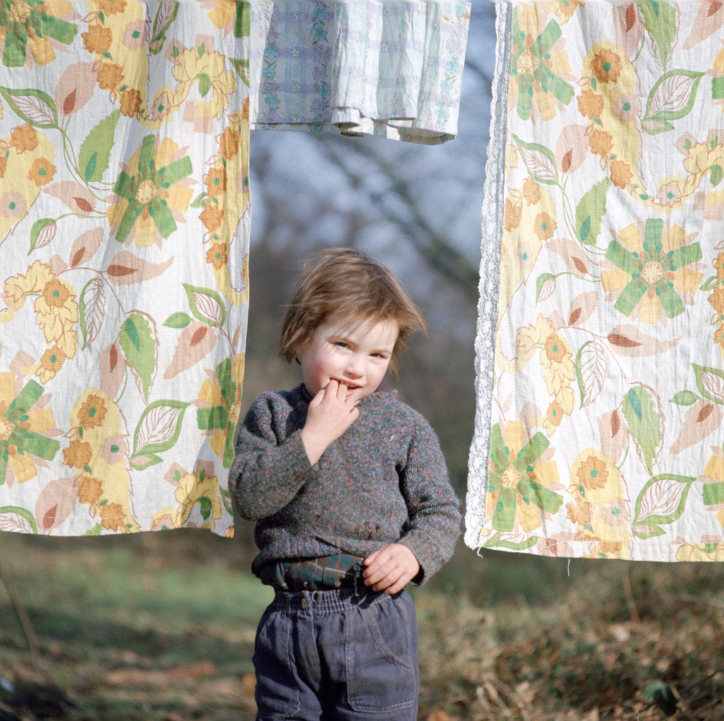 Detail of Young gipsy child of the Vincent family, Charlwood, Newdigate area, Surrey, 1964 by Tony Boxall