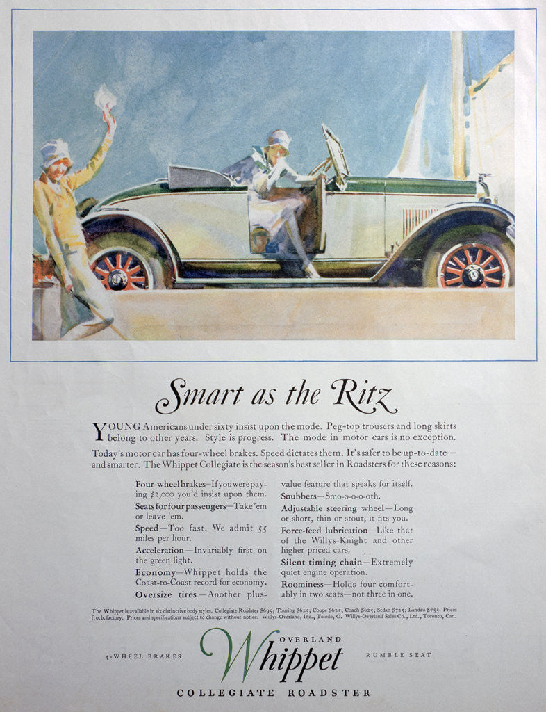 Detail of Advert for the Overland Whippet Collegiate Roadster car by Anonymous