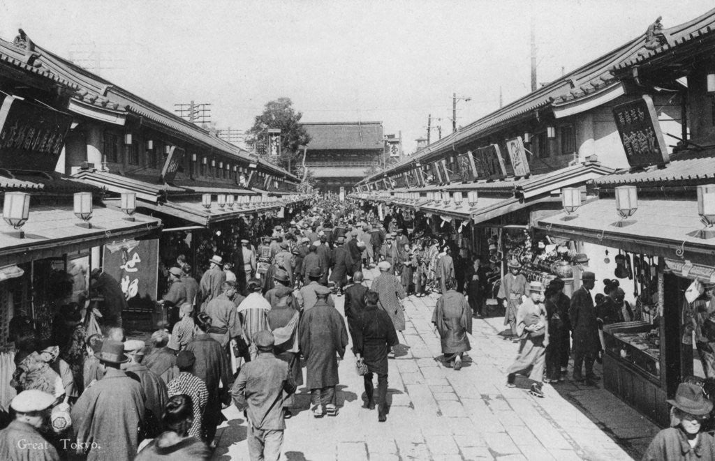 Detail of A row of shops in Asakusa, Tokyo by Anonymous