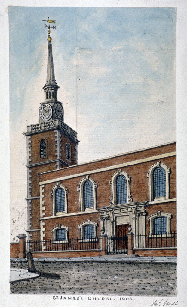 Detail of View of St James's Church, Piccadilly from Jermyn Street, London by Frederick Nash