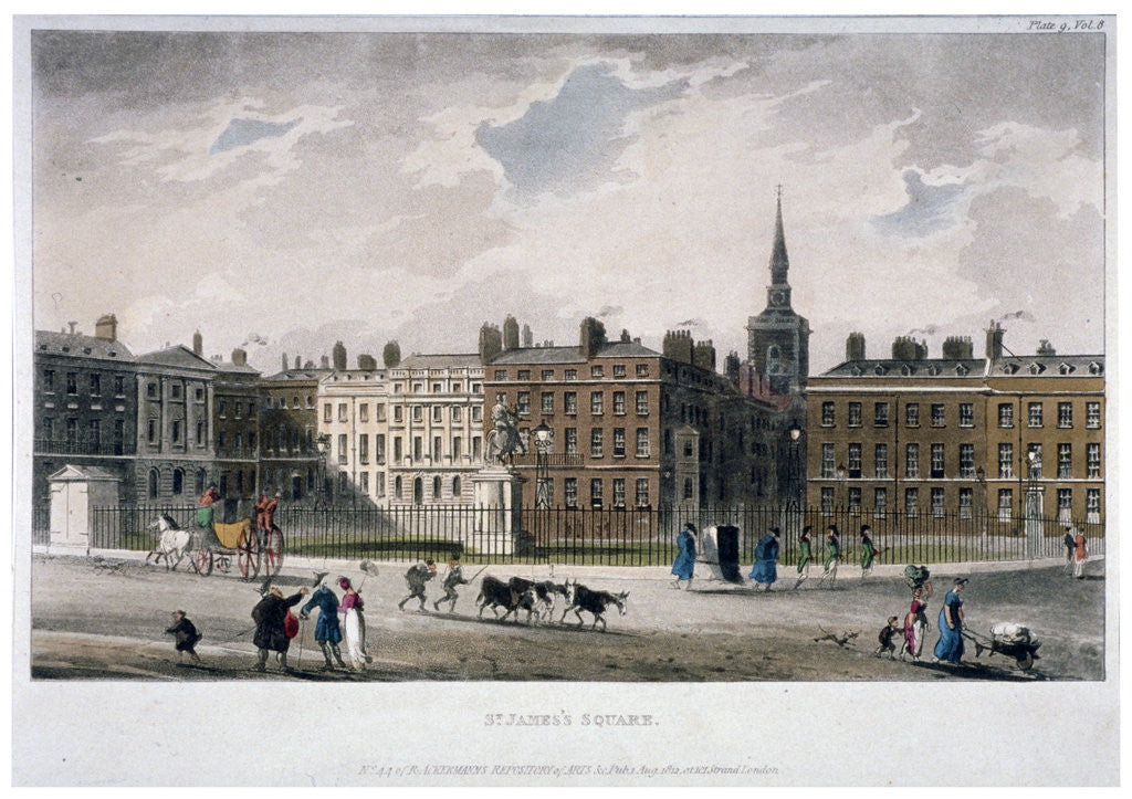 Detail of View of St James's Square from the south-east corner, London by Anonymous