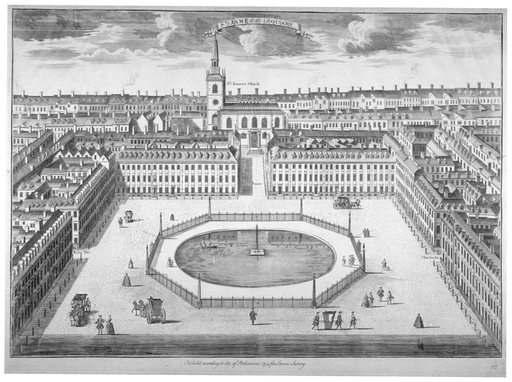Detail of St James's Square from the south, London by Sutton Nicholls
