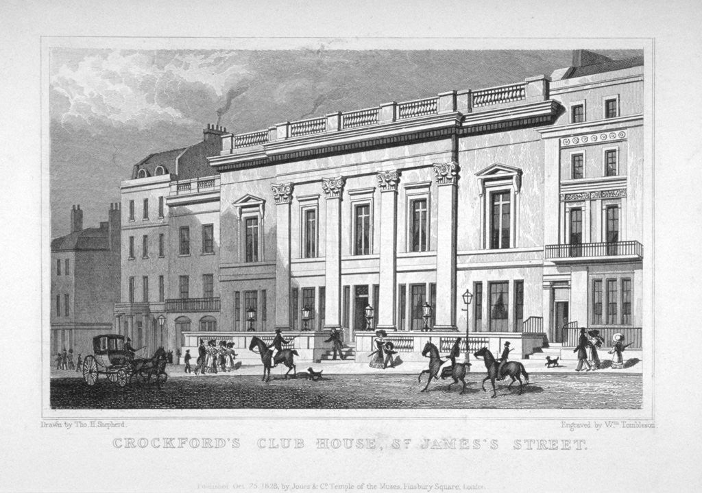 Detail of View of Crockford's Club on St James's Street, Westminster, London by
