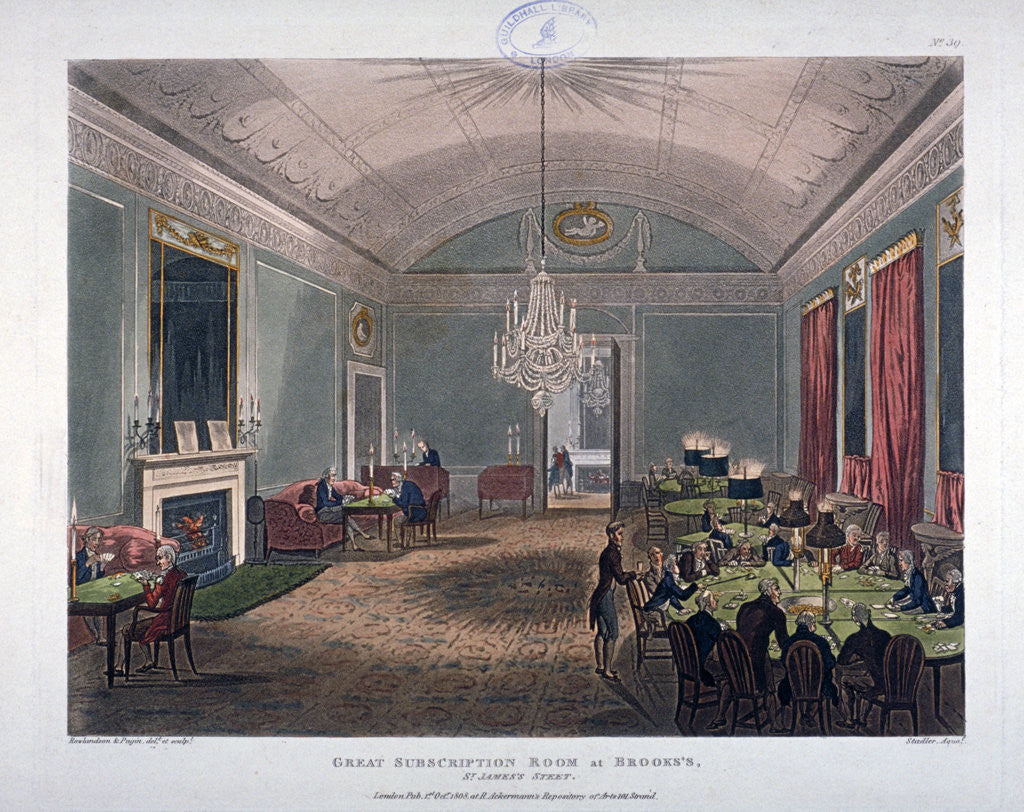 Detail of The Great Subscription Room, interior of the Brooks's Club, St James's Street, London by Augustus Charles Pugin