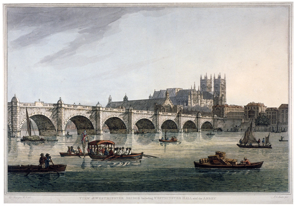 Detail of Westminster Bridge, Westminster Abbey and Westminster Hall, London by Joseph Constantine Stadler