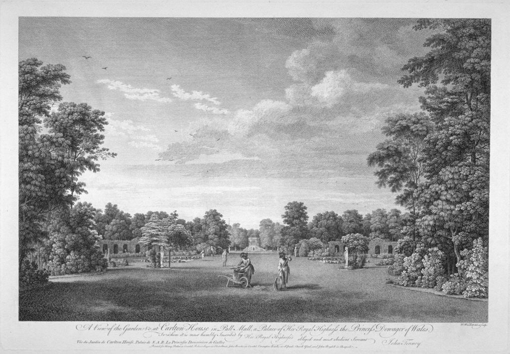 Detail of View of the garden and gardeners at Carlton House, London, c1760(?) by Anonymous