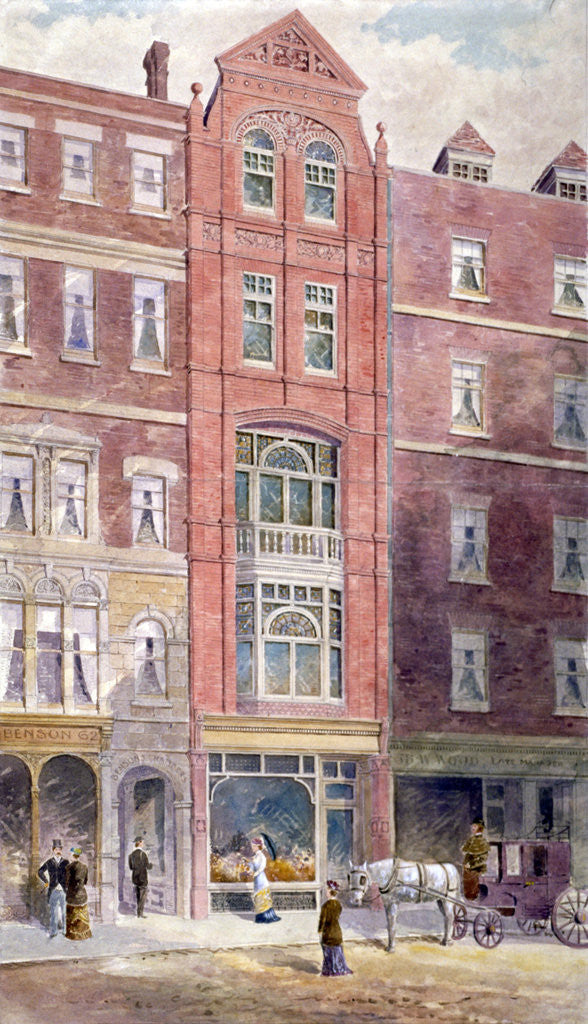 Detail of View of buildings on Ludgate Hill showing figures on the street, City of London by