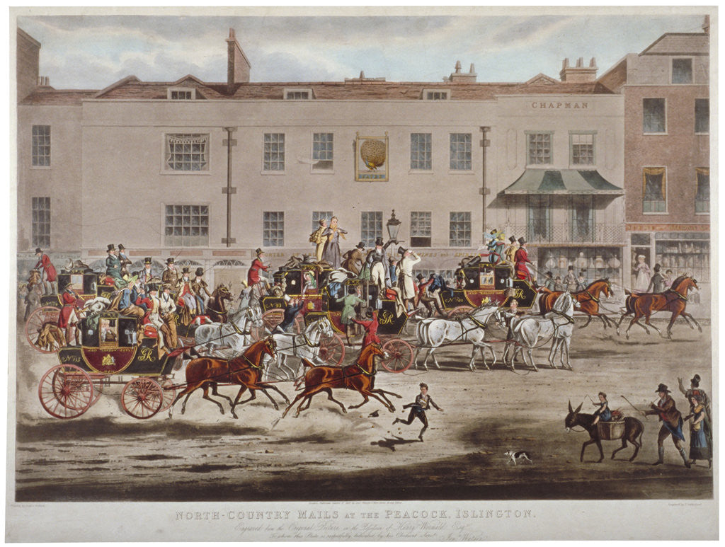 Mail coaches in front of the Peacock Inn on Islington High Street, London by Thomas Sutherland