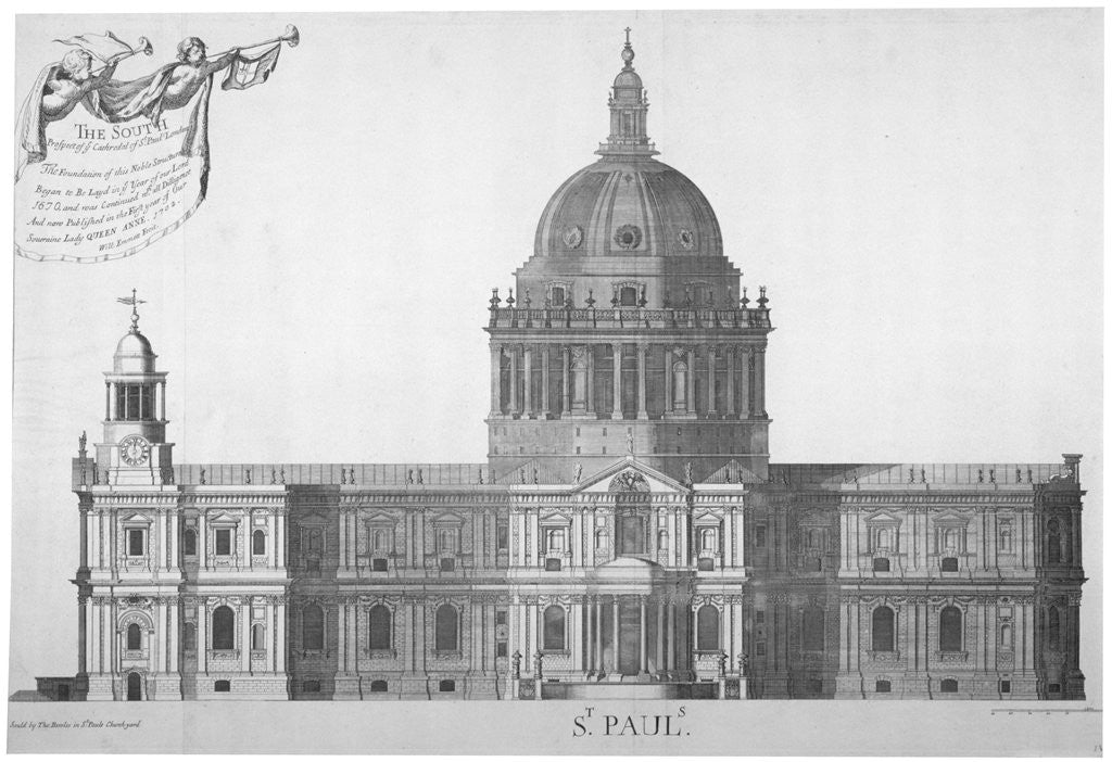 Detail of South elevation of St Paul's Cathedral, City of London by William Emmett