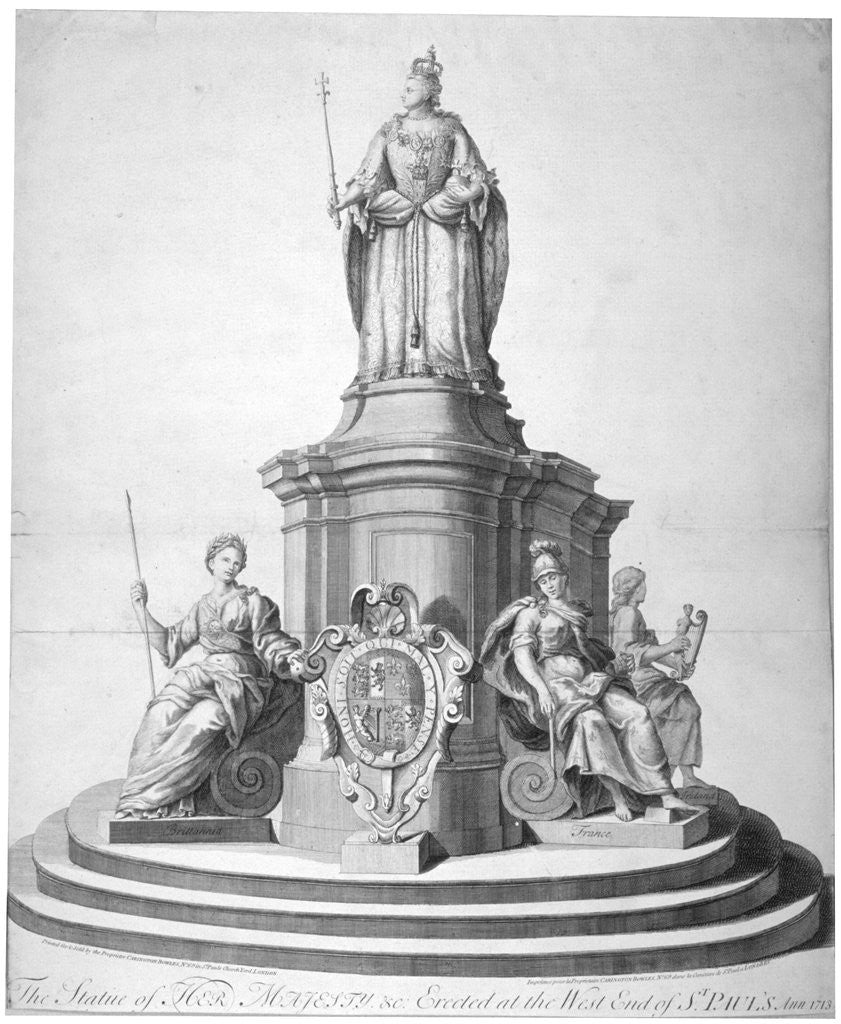 Detail of Statue of Queen Anne erected as a celebration of the completion of St Paul's Cathedral by Anonymous