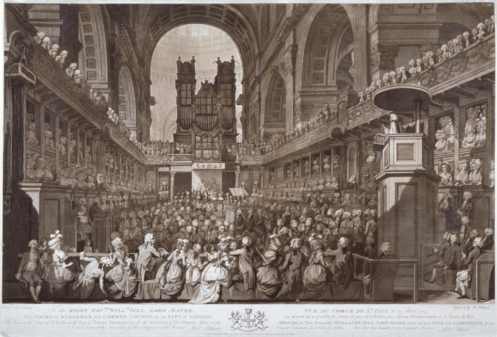 Detail of Service of thanksgiving in St Paul's Cathedral, City of London, 1789 (1790) by Robert Pollard