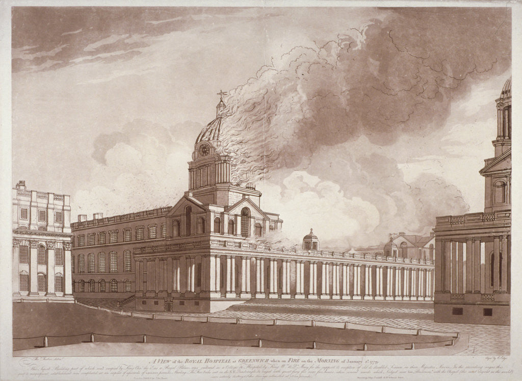 Detail of View of the fire at Greenwich Hospital, London, on the morning of 2nd January by E Edye
