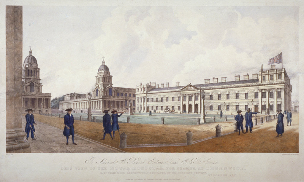 Detail of View of Greenwich Hospital with residents in the foreground, London by