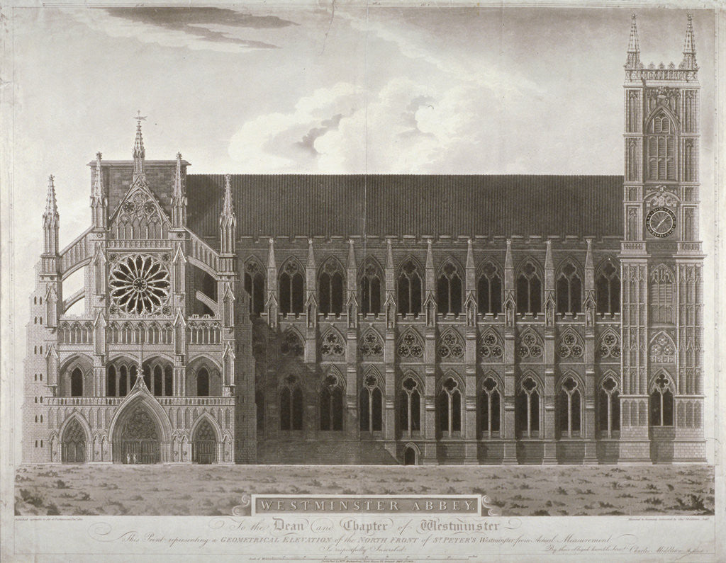 Detail of Elevation of Westminster Abbey's north front, London by Anonymous