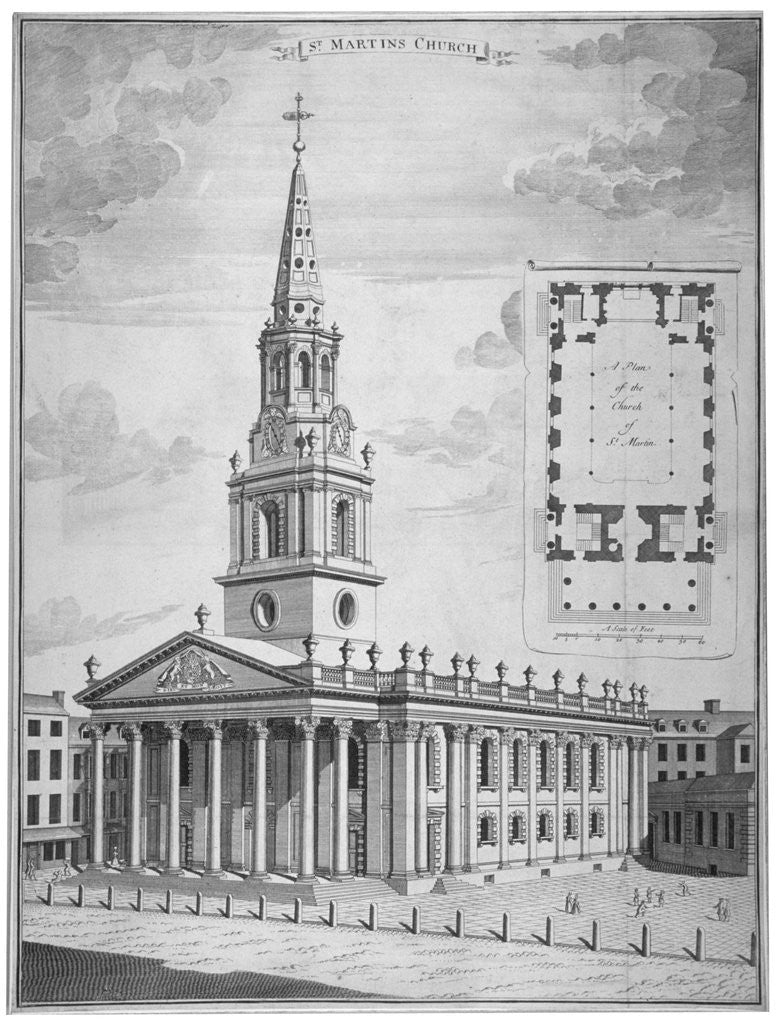Detail of Church of St Martin-in-the-Fields, Westminster, London by Anonymous