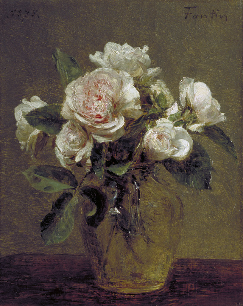 Detail of White Roses in a Glass Vase by Henri Fantin-Latour
