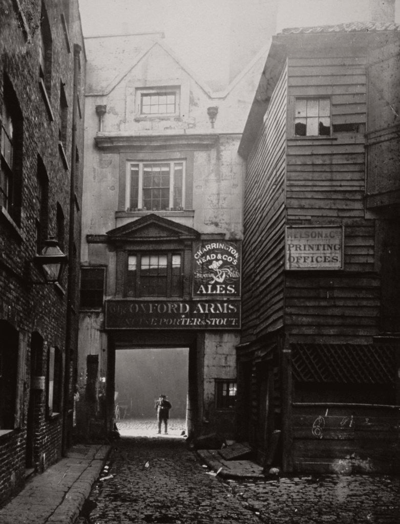 Detail of View of the gateway to the Oxford Arms Inn, Warwick Lane, City of London by Society for Photographing the Relics of Old London